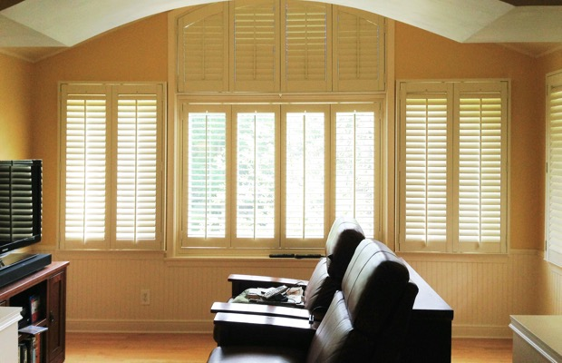 Philadelphia plantation shutters in home theater