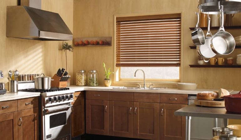 Philadelphia kitchen faux wood blinds.