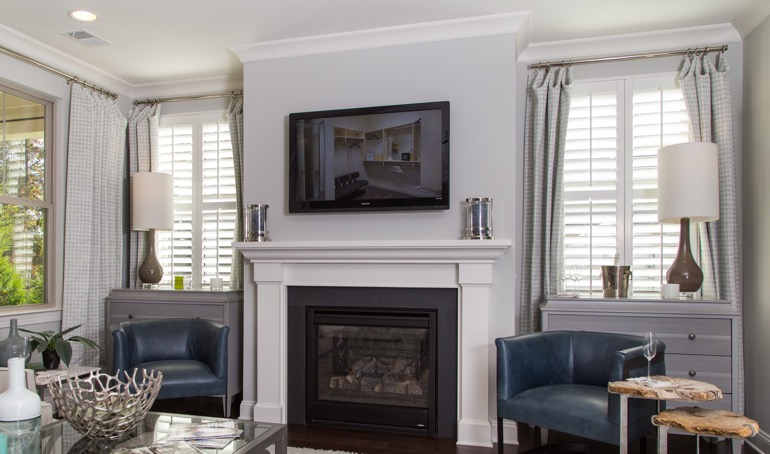 Philadelphia mantle with plantation shutters.