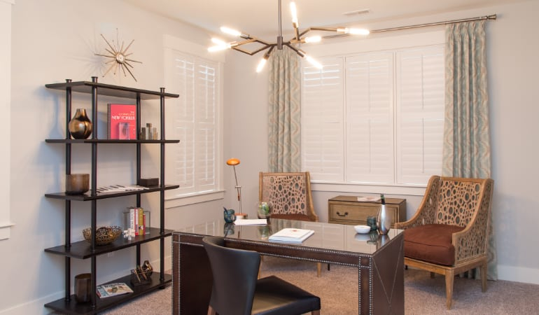 Philadelphia home office with plantation shutters.
