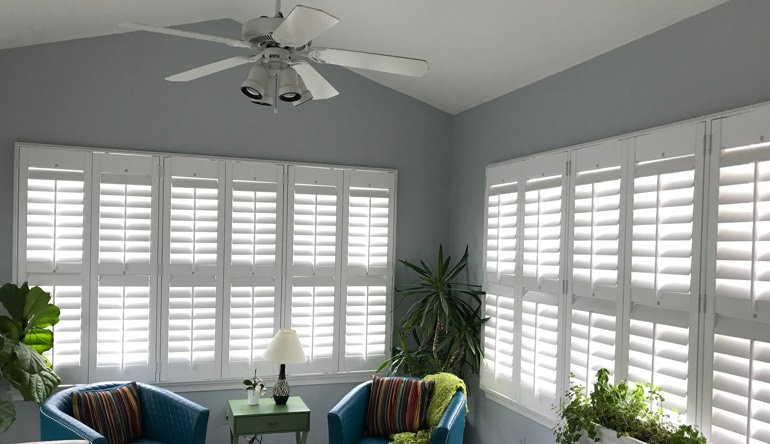 Philadelphia sunroom with fan and shutters