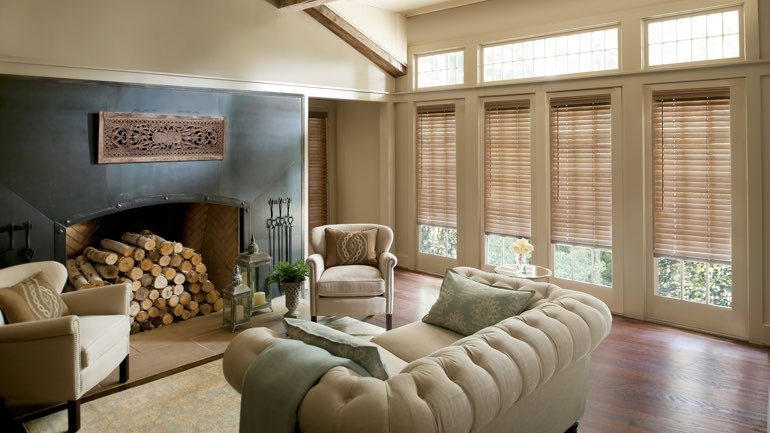 Philadelphia fireplace with blinds