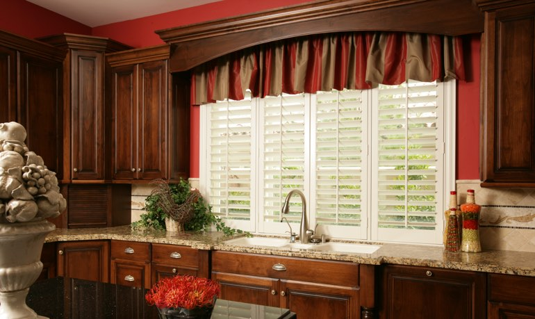 Philadelphia kitchen shutter and cornice valance
