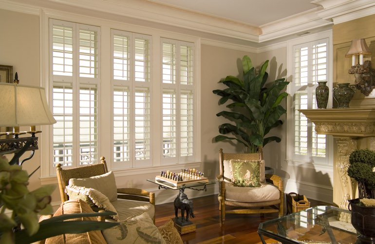 Living Room in Philadelphia with white plantation shutters.