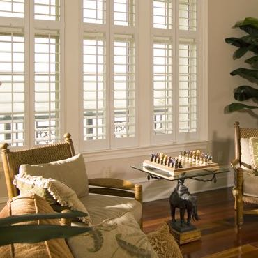 Philadelphia living room plantation shutters.