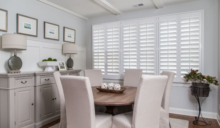 Plantation shutters in a Philadelphia dining room.