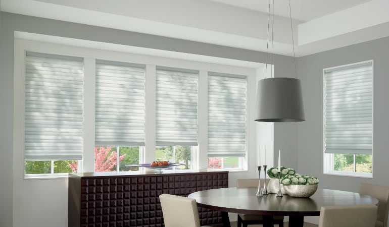 Cellular shades in a Philadelphia dining room.