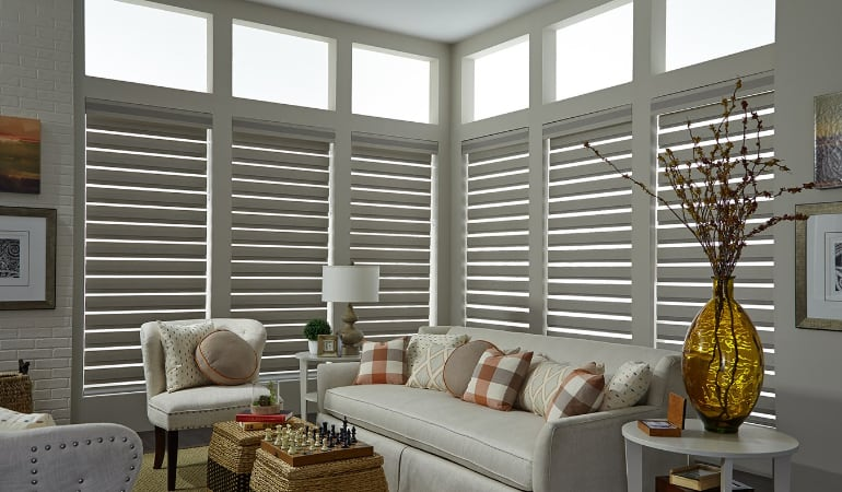 Motorized shades in a Philadelphia living room.