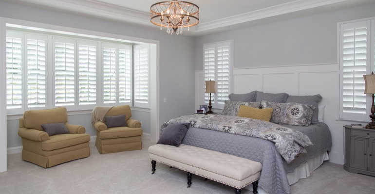 White shutters in Philadelphia bedroom.