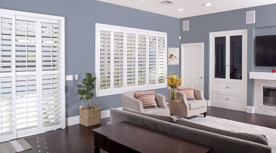 Faux Wood Shutters In pretty Philadelphia Living Room
