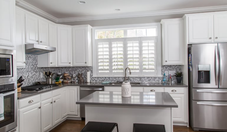 Polywood shutters in a Philadelphia gourmet kitchen.