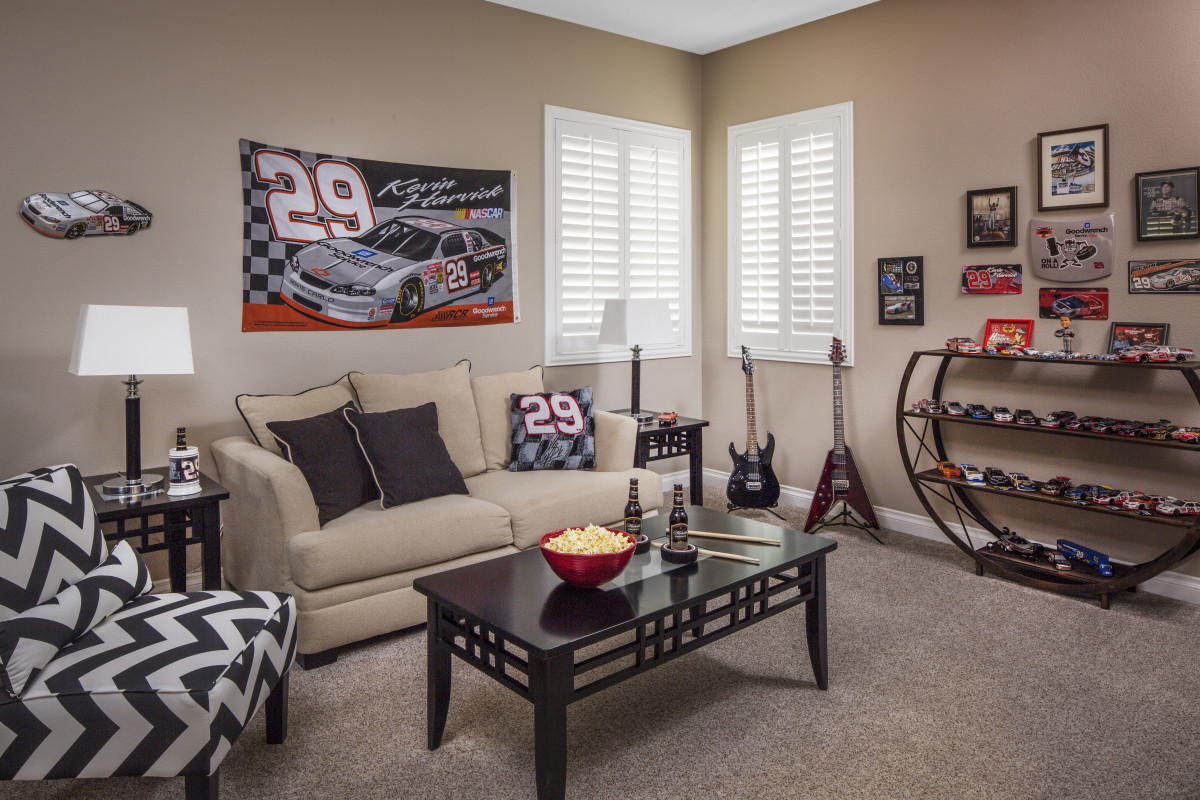 Philadelphia man cave with shutters