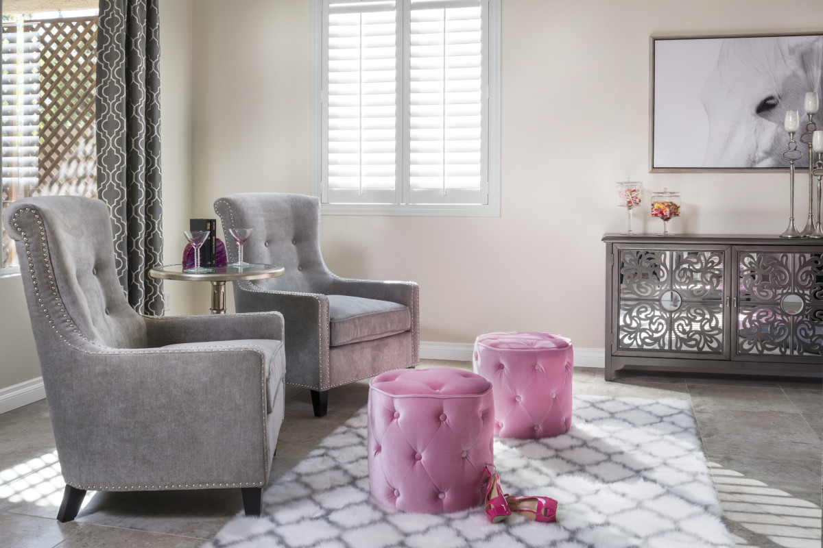 Philadelphia pink living room with shutters