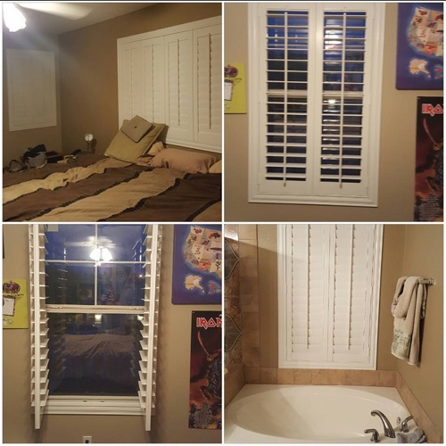 Polywood plantation shutters in bedroom and bathroom