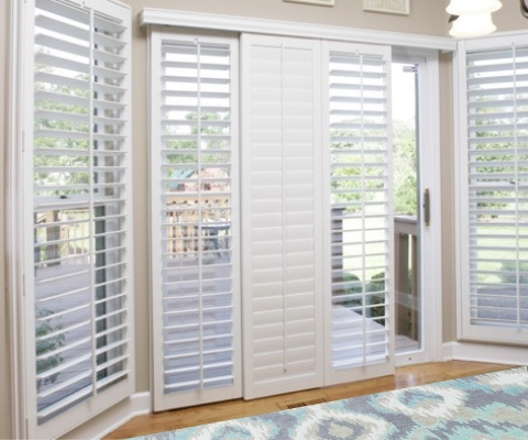[Polywood|Plantation|Interior ]211] shutters on a sliding glass door in Philadelphia