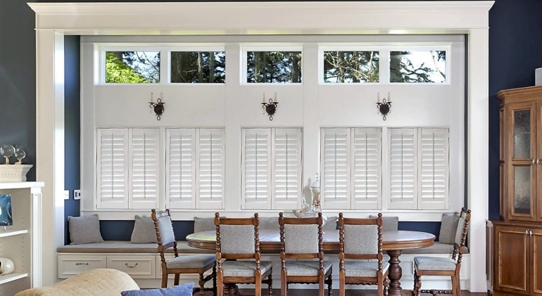 Philadelphia dining room with shut plantation shutters.