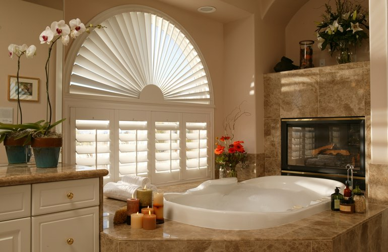 Arched shutters in a Philadelphia bathroom.