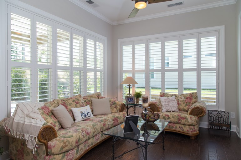 Sunroom with plantation shutters in Philadelphia.