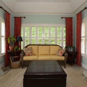 Philadelphia sunroom plantation shutters.