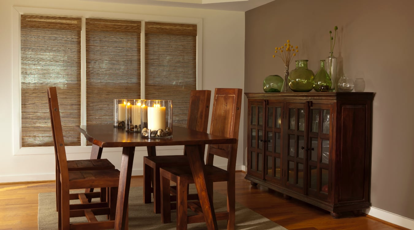 Woven shutters in a Philadelphia dining room.