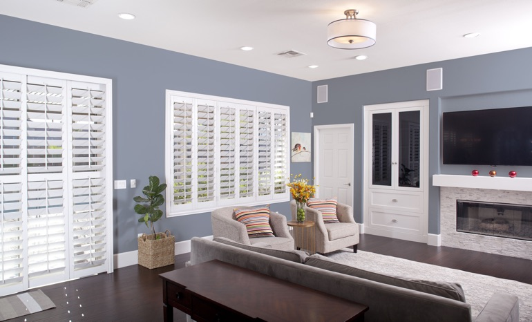 Plantation Shutters In A Philadelphia Living Room.