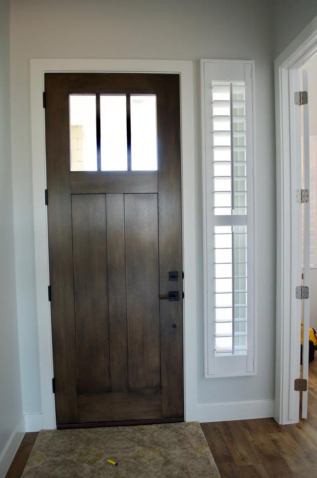 Plantation shutters on a front door